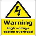 High voltage cables overhead sign