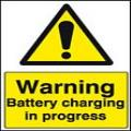 Warning battery charging in progress sign